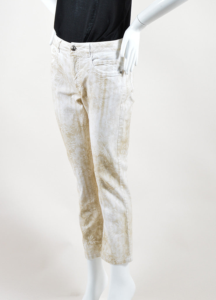 Chanel White and Beige Cotton Tropical Print Straight Leg Cropped Jeans Sideview