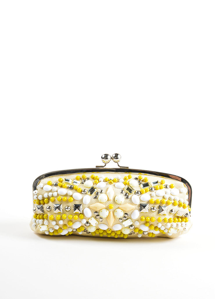 Chloe Cream, Yellow, and Silver Toned Canvas Beaded Kiss Lock Frame Clutch Bag Frontview
