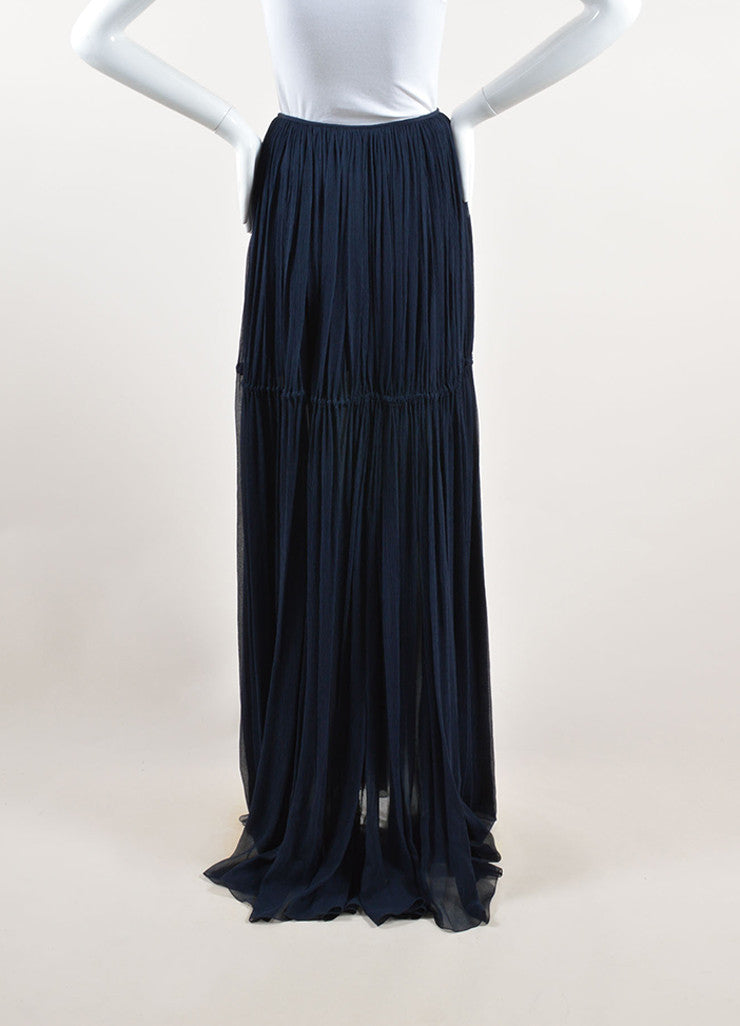 Chloe Navy Blue Silk Chiffon Pleated Drawstring Maxi Skirt Frontview