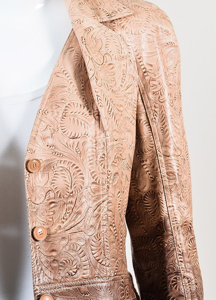 Christian Dior Pink and Purple Ombre Leather Scroll Pattern Jacket Detail