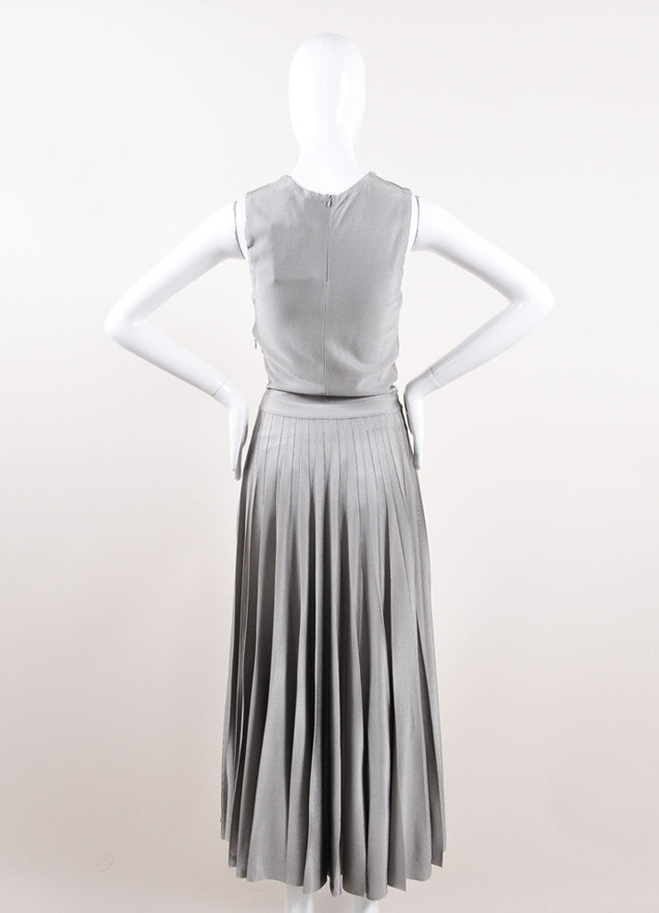 Christian Dior Grey Silky Knit Pleated Maxi Dress Backview