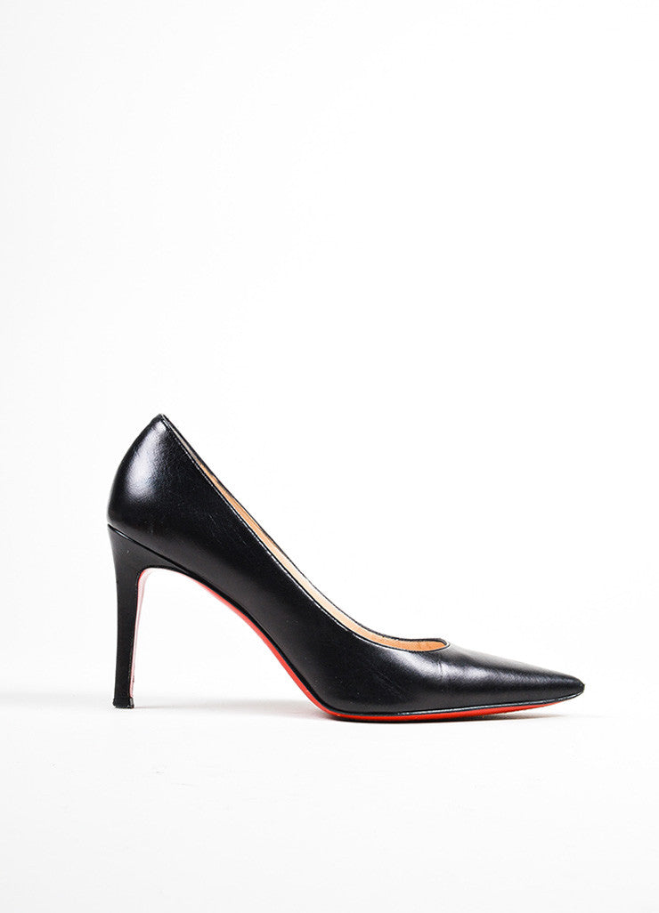 "Black Christian Louboutin Leather ""New Hai 85MM"" Pointed Toe Pumps Sideview"