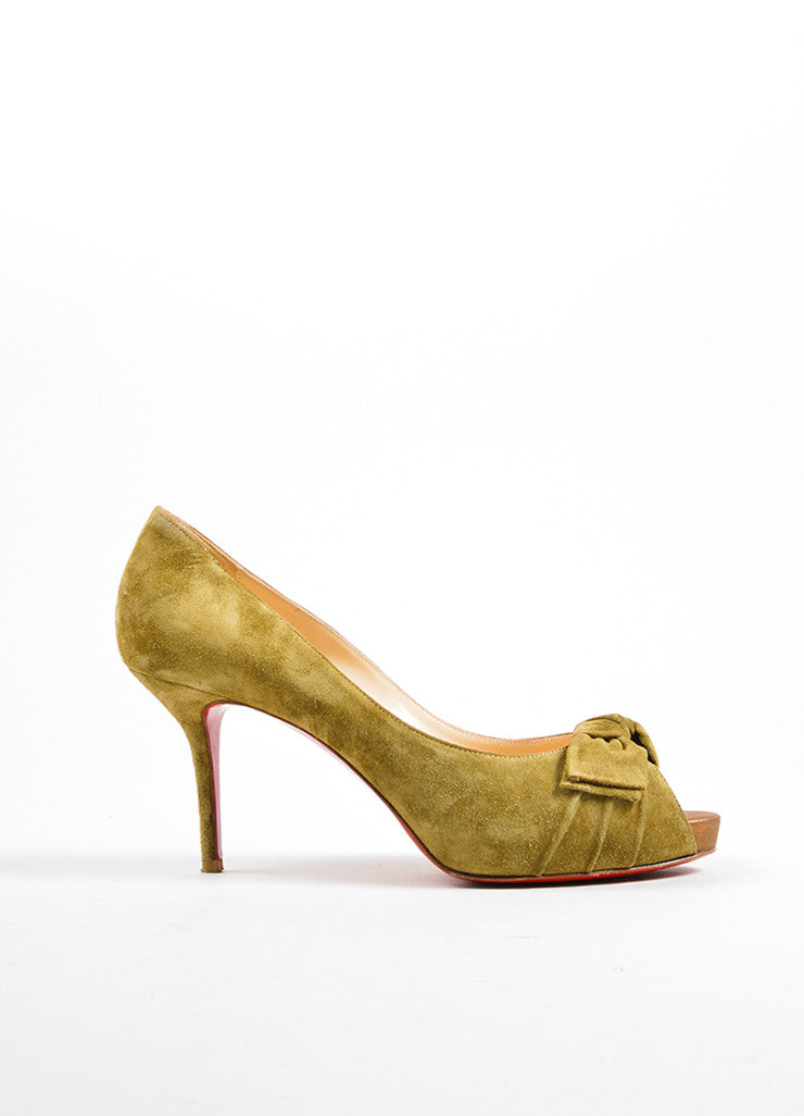 Christian Louboutin Light Olive Green Suede Peep Toe Bow Pumps Side
