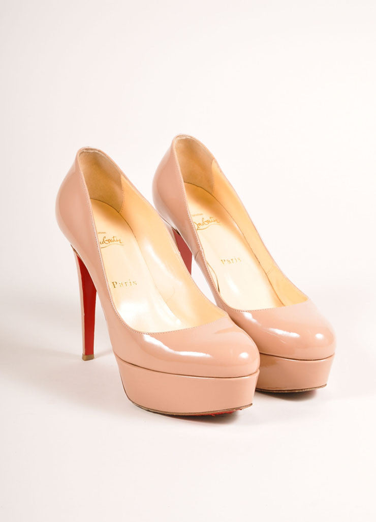 "Christian Louboutin Nude Patent Leather ""Bianca 120"" Platform Pumps Frontview"