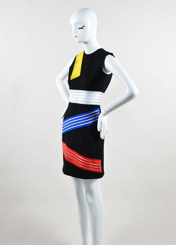 Christopher Kane Black and Multicolor Abstract Sheer Striped Sheath Dress Sideview
