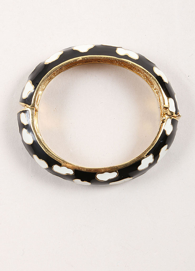 Ciner Gold Toned, Black, and White Enamel Patterned Hinge Bangle Bracelet Topview
