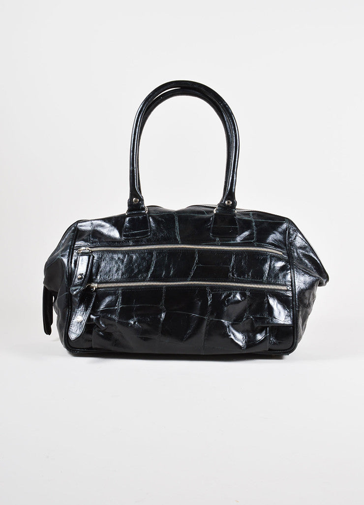 Dries van Noten Black Reptile Leather Shoulder Bag Front