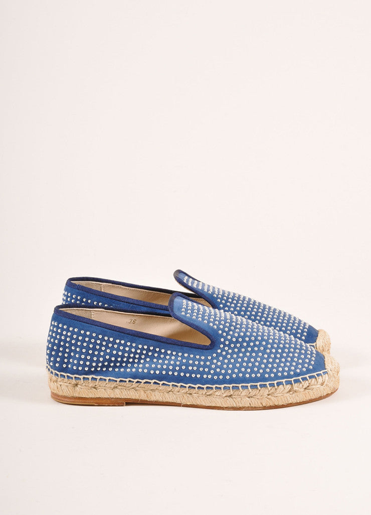Elyse Walker New In Box Blue Suede and Silver Toned Studded Espadrille Flats Sideview
