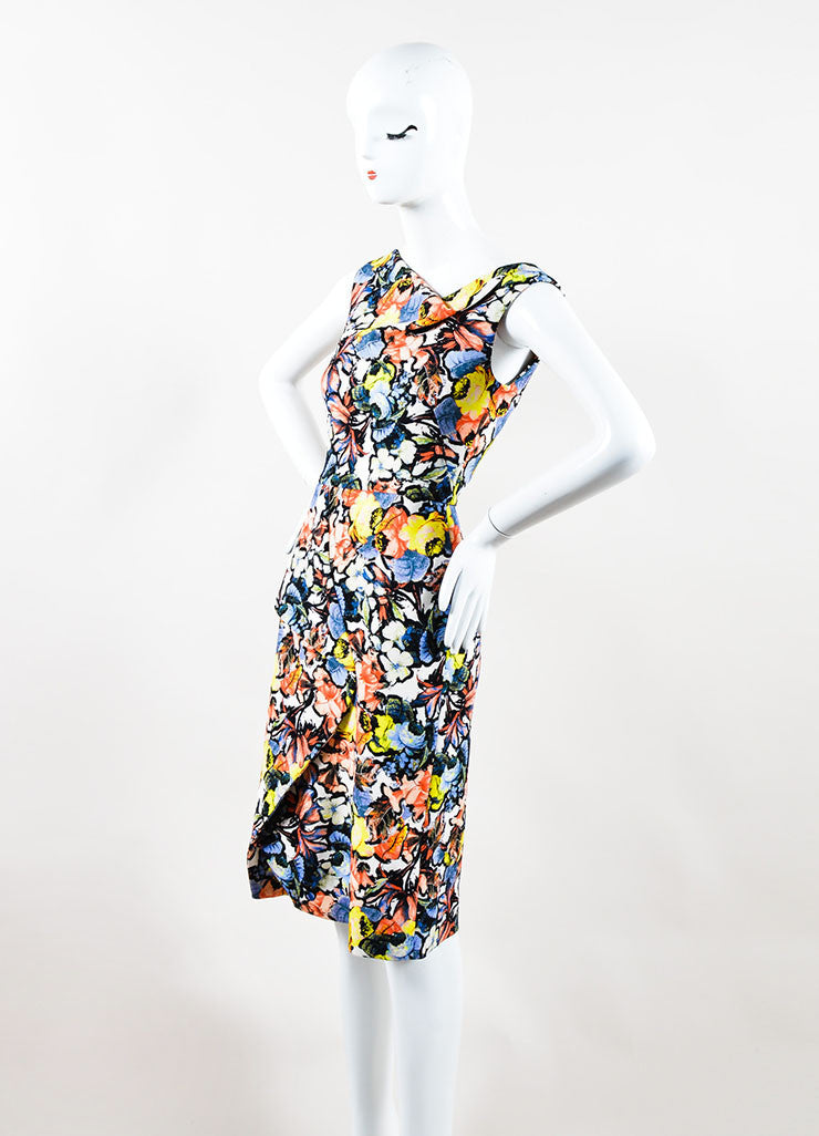 "Multicolor Floral Jardim Print ""Mariko"" Cowl Neck Dress Side"