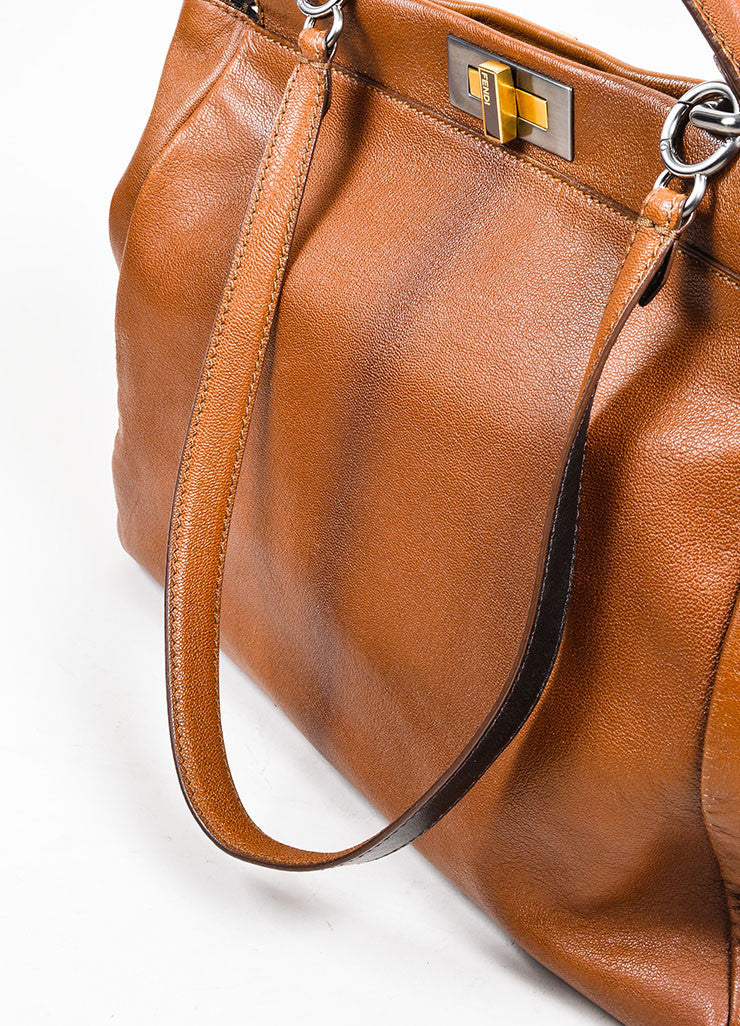 "Fendi ""Peekaboo"" Brown Leather Satchel Bag Detail 2"