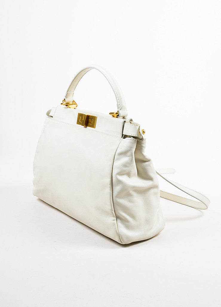 "Cream Leather and Gold Toned Fendi ""Medium Peekaboo"" Satchel Shoulder Bag Sideview"