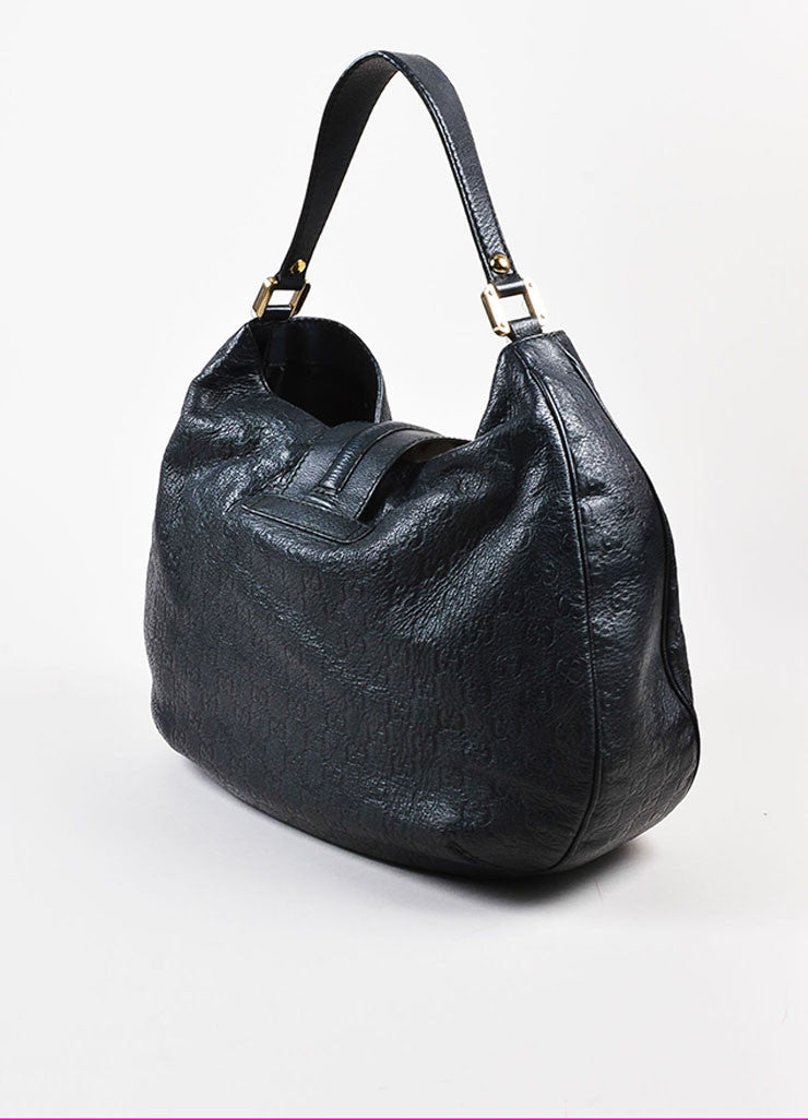 "Gucci Black Guccissima Embossed Leather ""New Web"" Hobo Bag Sideview"