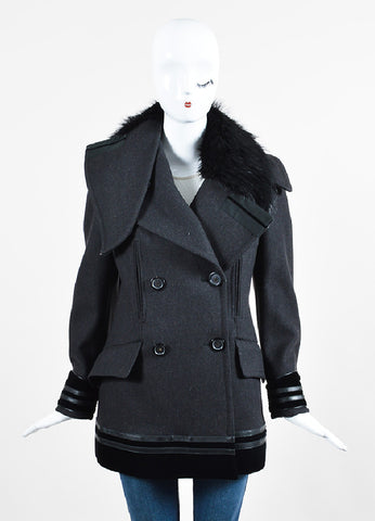 Grey and Black Gucci Wool and Fur Velvet Trim Double Breasted Coat Frontview 2