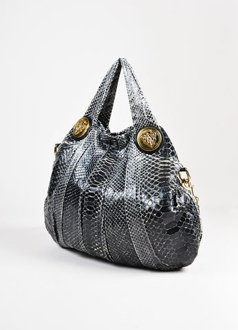 "Gucci Grey Black Python Leather ""Hysteria"" Hobo Shoulder Bag Back"