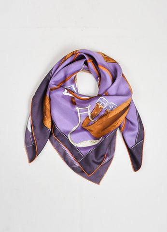 "Purple and Brown Hermes Silk Twill Horse Equipment Print ""Projets Carres"" 90cm Scarf Frontview"