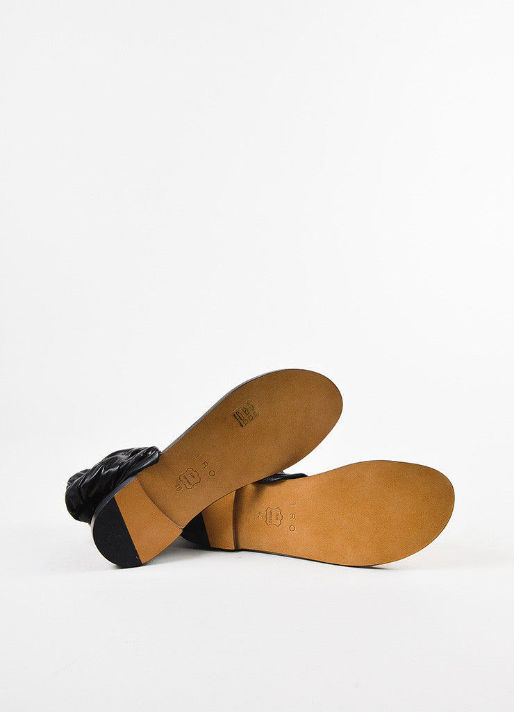 "IRO Black and Tan Leather Wrap Ankle Strap ""Megg"" Sandals Outsoles"