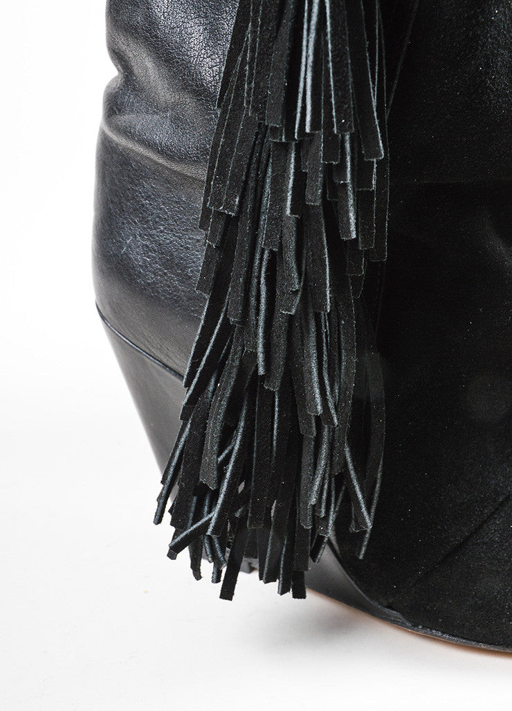 "Black Isabel Marant Leather Suede Fringe ""Mony"" Mid Calf Wedge Boots Detail"