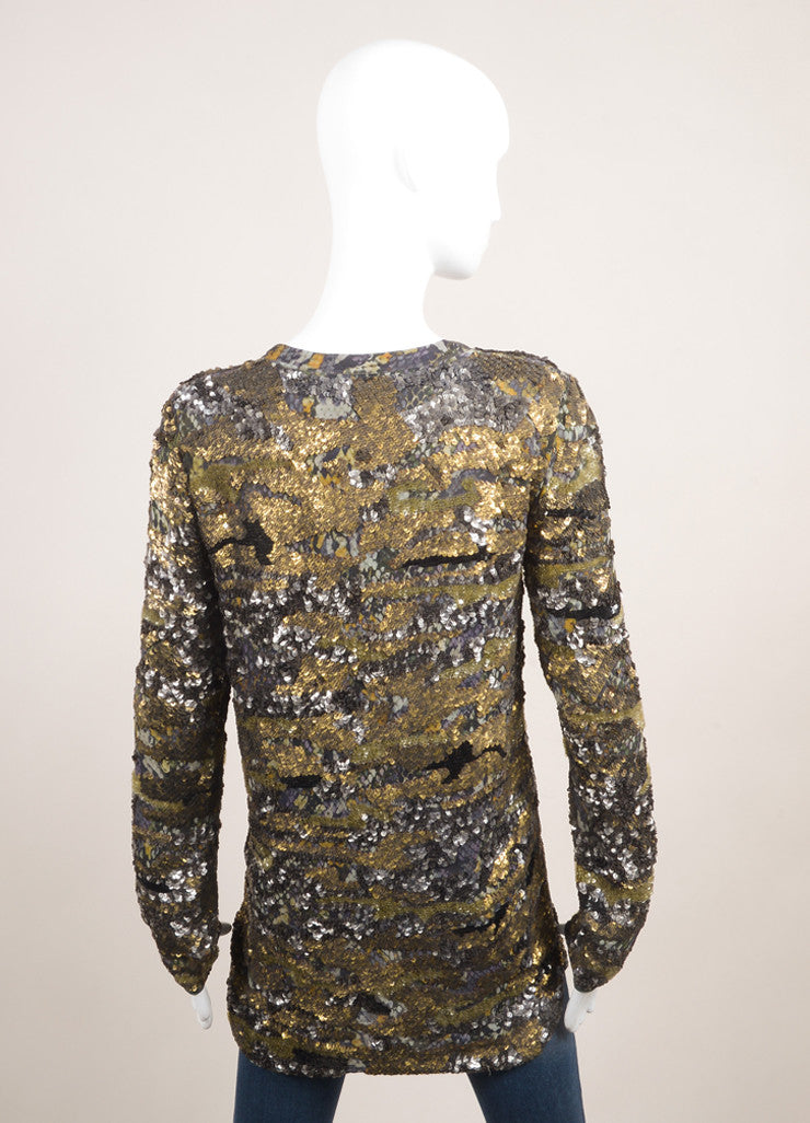 "Isabel Marant New With Tags Green and Multicolor Silk Sequin Long Sleeve ""Edilon"" Tunic Top Backview"