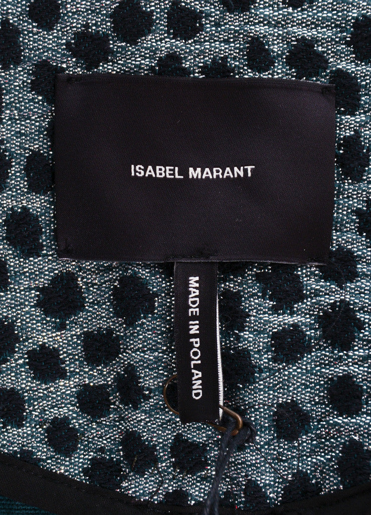Isabel Marant Black and Metallic Silver Cotton Polka Dot Cropped Jacket Brand