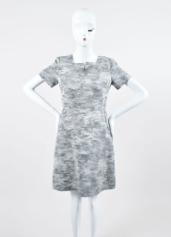 Grey Jason Wu Knit Jacquard Graphic Pattern Short Sleeve Dress Frontview