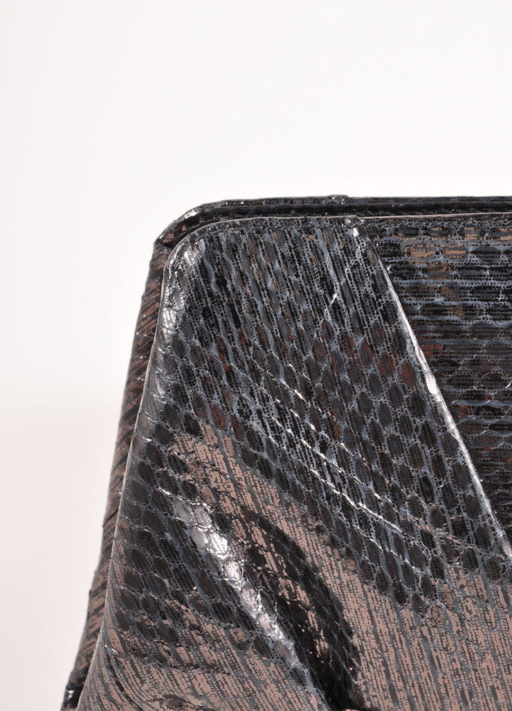 "Smoke Grey Snakeskin Leather Gathered ""Reem Ayers"" Clutch Bag"
