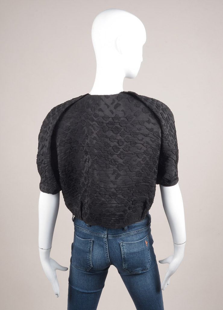 Lanvin Black Silk Textured Cropped Shrug Backview