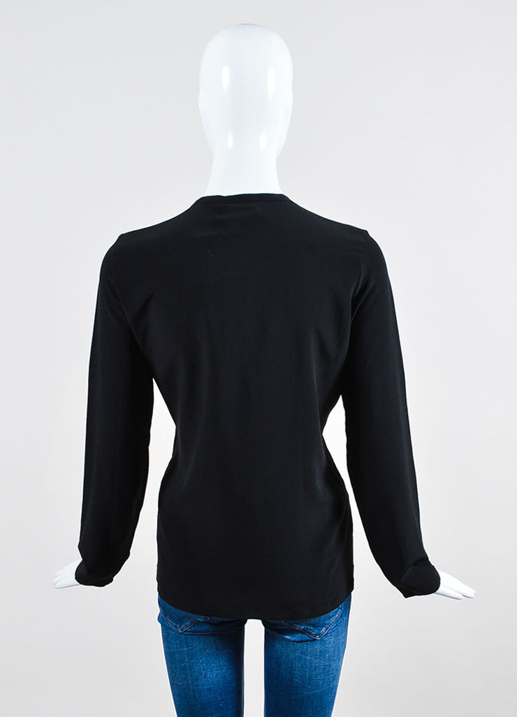 Black Lanvin Silk Ribbon Bejeweled Long Sleeve Blouse Backview