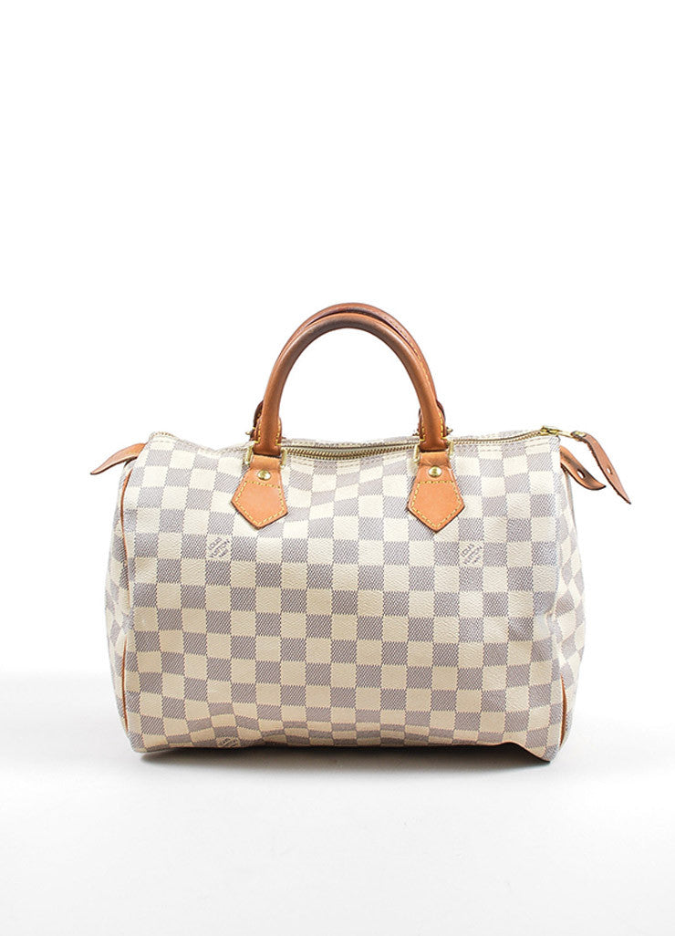"Louis Vuitton White and Blue Coated Canvas Damier Azur ""Speedy 30"" Satchel Bag Frontview"