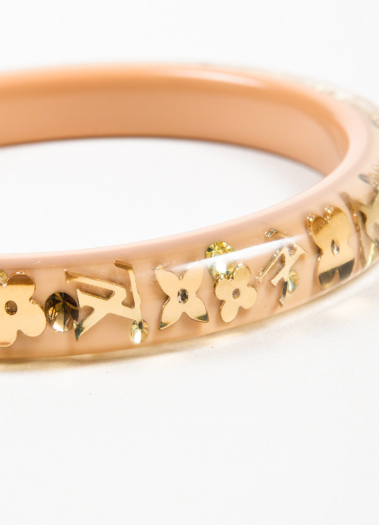"Louis Vuitton Beige and Gold Toned Resin ""Inclusion TPM"" Monogram Bangle Bracelet Detail"