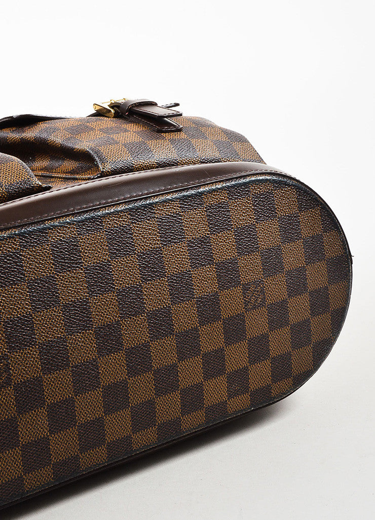 "Louis Vuitton Brown Coated Canvas Leather Trim Damier ""Manosque GM"" Tote Bag Bottom View"