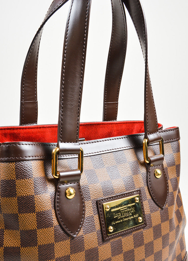 "Brown Louis Vuitton Damier Ebene Coated Canvas ""Hampstead MM"" Bag Detail 2"