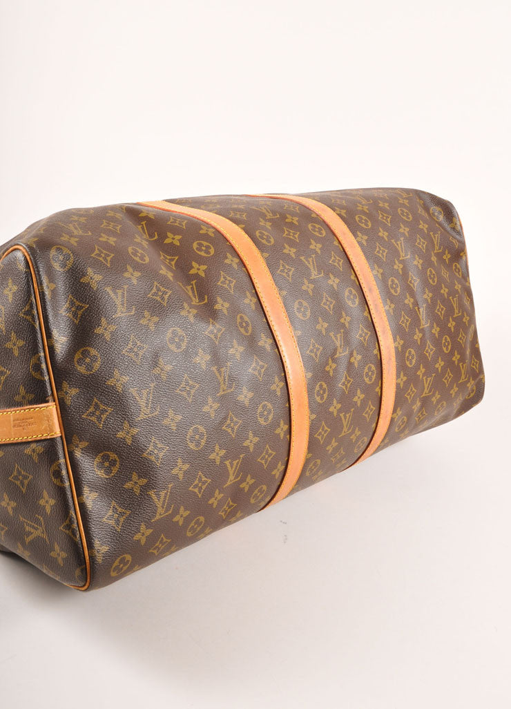 "Louis Vuitton Brown and Tan Coated Canvas and Leather Monogram ""Keepall 60"" Duffel Bag Bottom View"
