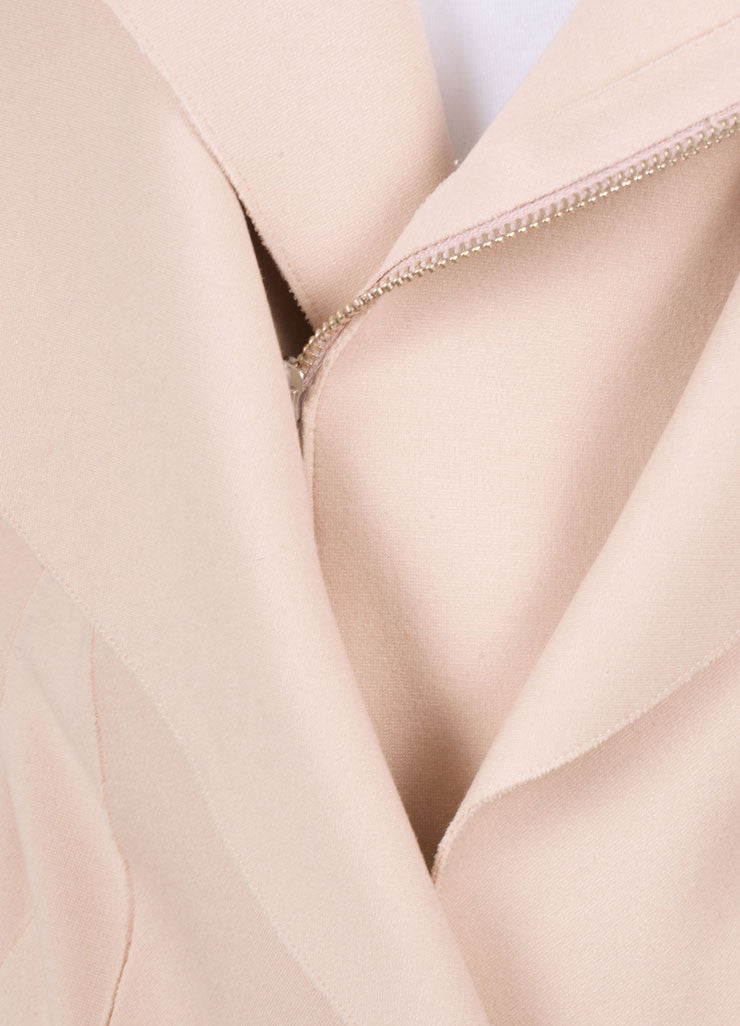 Marie Saint Pierre Blush Pink Knit Long Sleeve Moto Jacket Detail
