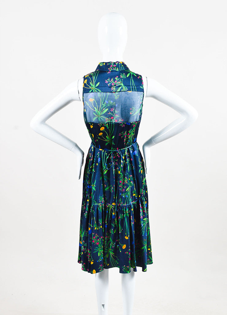 "Marissa Webb Navy and Green Silk Floral Sheer ""Allison"" Buttoned Dress Backview"