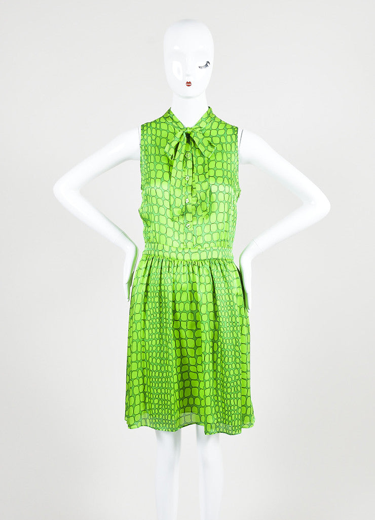 Green Moschino Cheap and Chic Silk Printed Neck Tie Sleeveless Dress Frontview