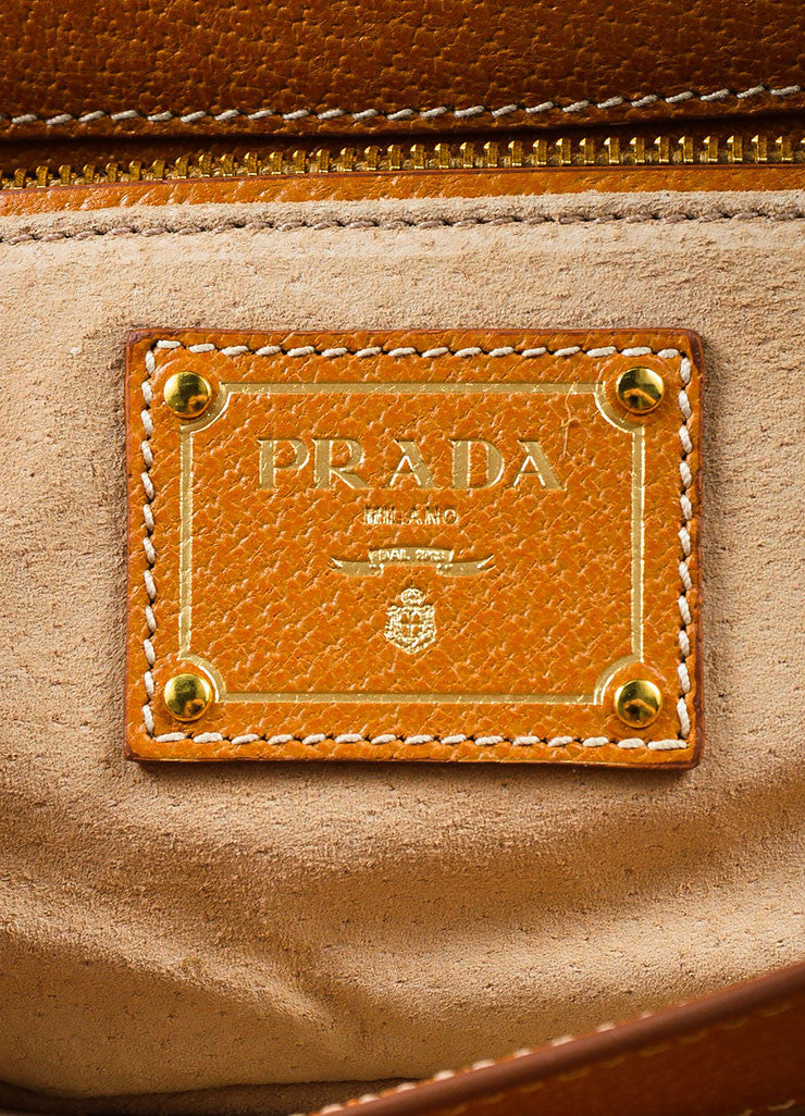 "Prada Tan, Brown, and Black Canvas Leather Striped ""Canapa Righe"" Clutch Bag Brand"