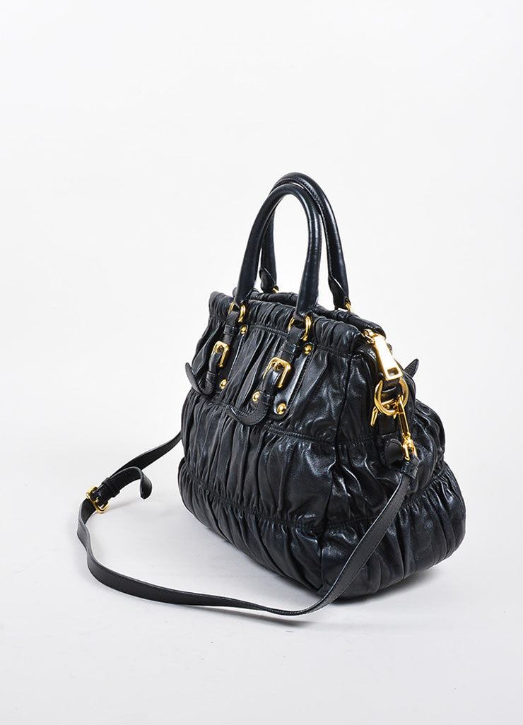 Prada Black Gaufre Leather Gold Toned Dual Handle Ruched Satchel Bag Sideview