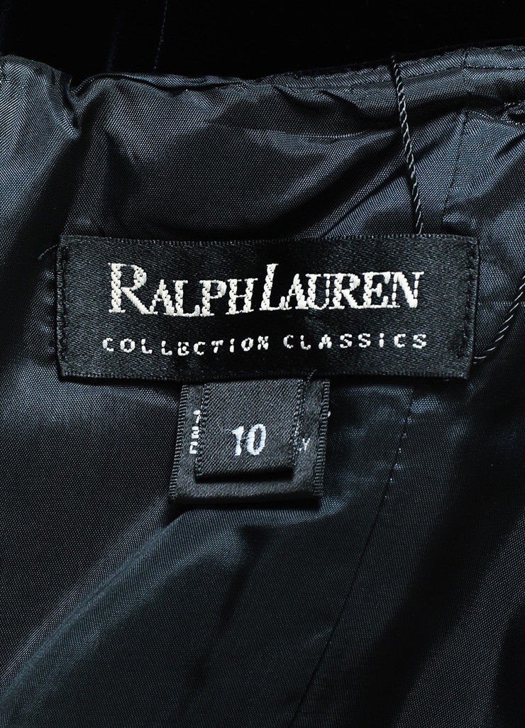 Ralph Lauren Collection Black Velvet Spaghetti Strap Full Length Gown Brand