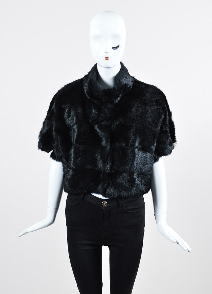 Black Red Valentino Rabbit Fur Cap Sleeve Cropped Jacket Frontview 2