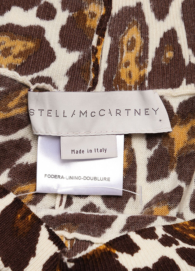 Stella McCartney Cream, Brown, and Yellow Wool Leopard Print Lightweight Pants Brand