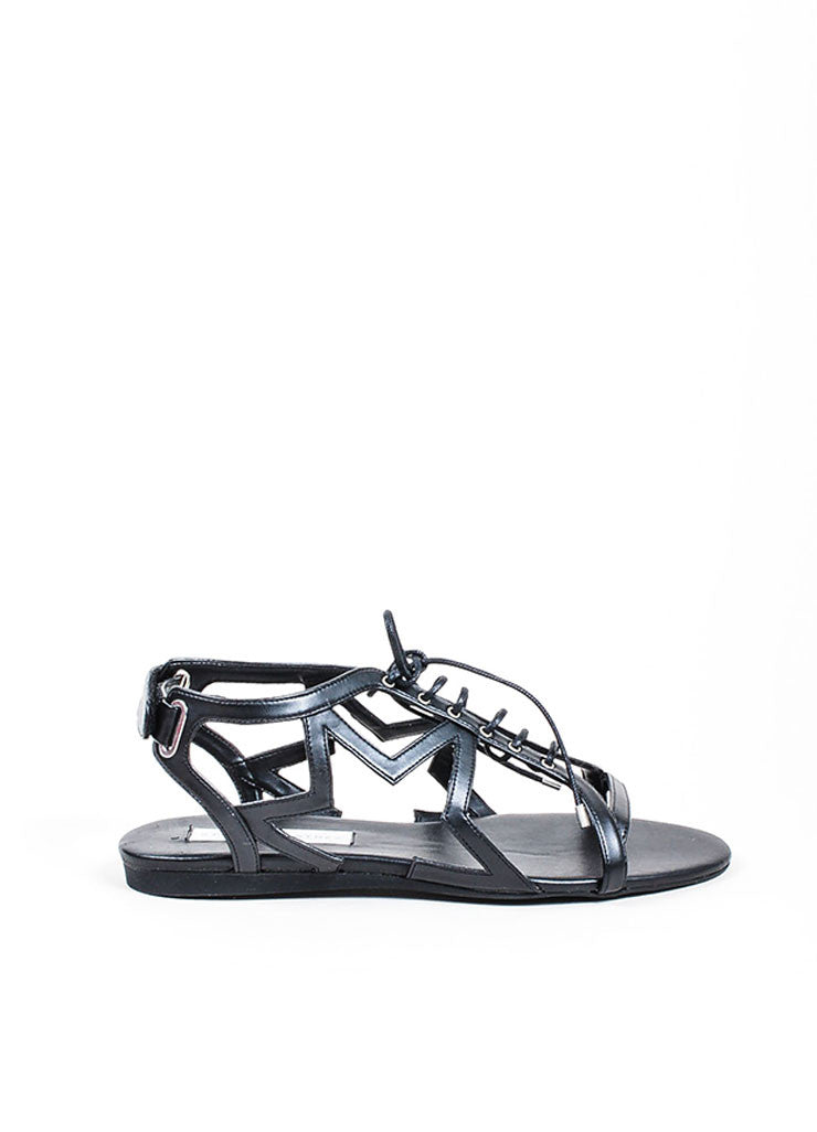 "Black Stella McCartney Faux Leather Star Cut Out ""Lucy"" Laced Sandals Sideview"
