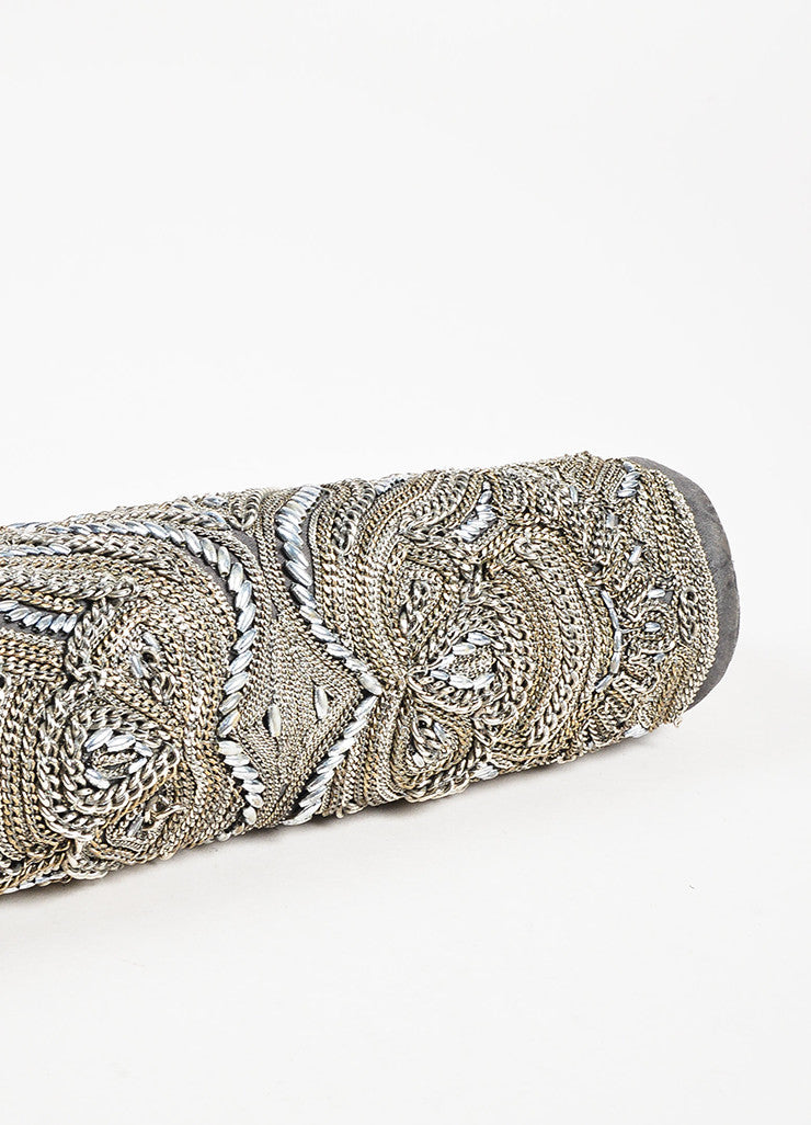 Stella McCartney Silver and Grey Chain Beaded Embellished Frame Clutch Bag Bottom View