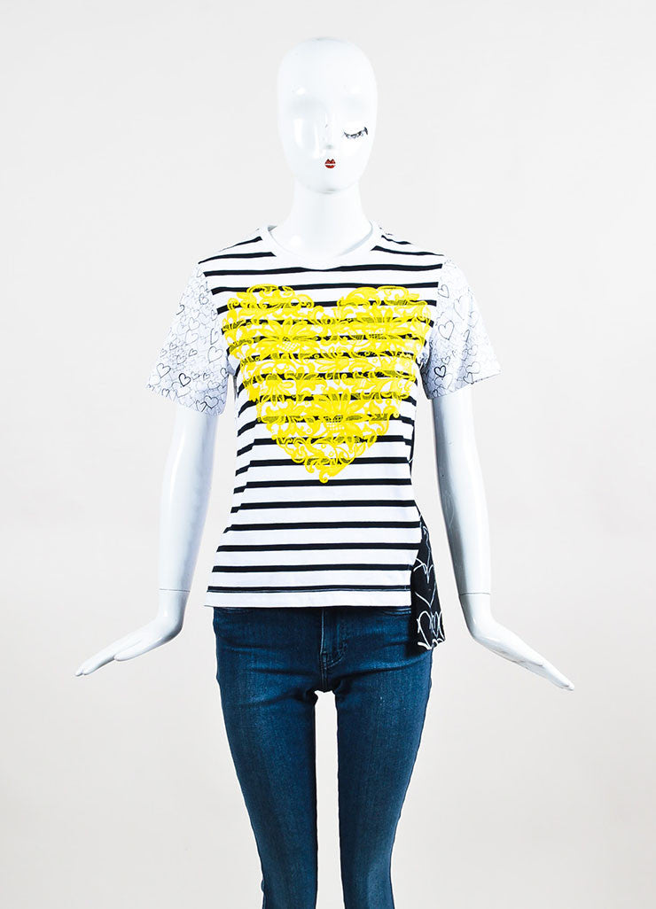 Stella McCartney White, Black, and Yellow Striped Heart Short Sleeve Crew Neck T-Shirt Frontview