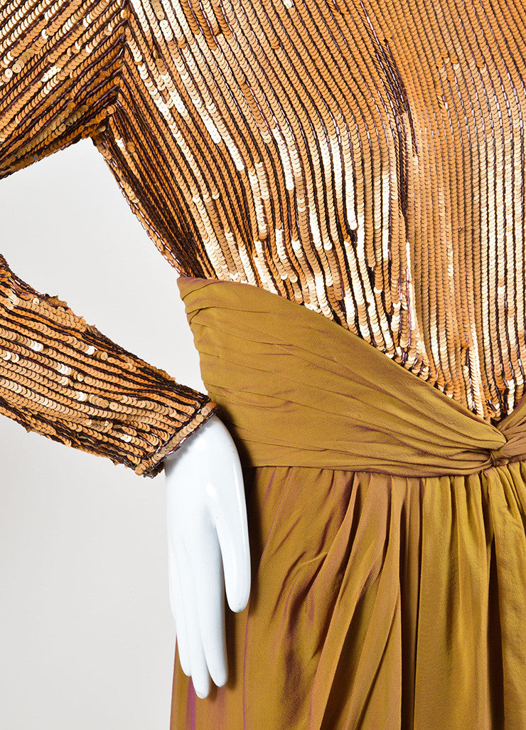 Bob Mackie Gold Sequin Long Sleeve Ruched Gown Detail