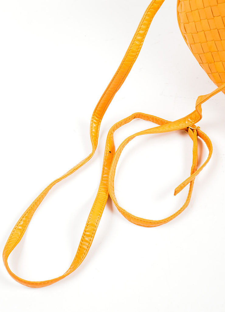 Orange Bottega Veneta Leather Woven Tassel Cross Body Bag Detail 2