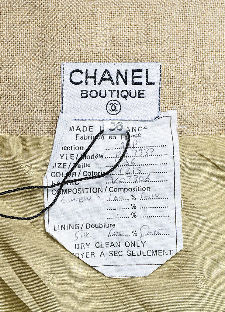 Tan Linen Chanel Gold Toned 'CC' Button Pleated Skirt Brand