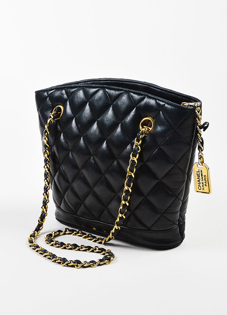Chanel Black Quilted Lambskin Double Chain Strap Shoulder Bag Sideview