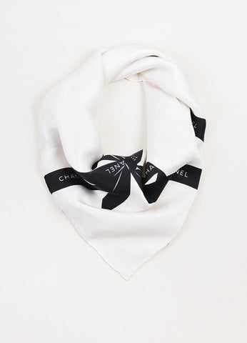 Chanel Cream and Black Textured Silk Bow Print Square Scarf Frontview