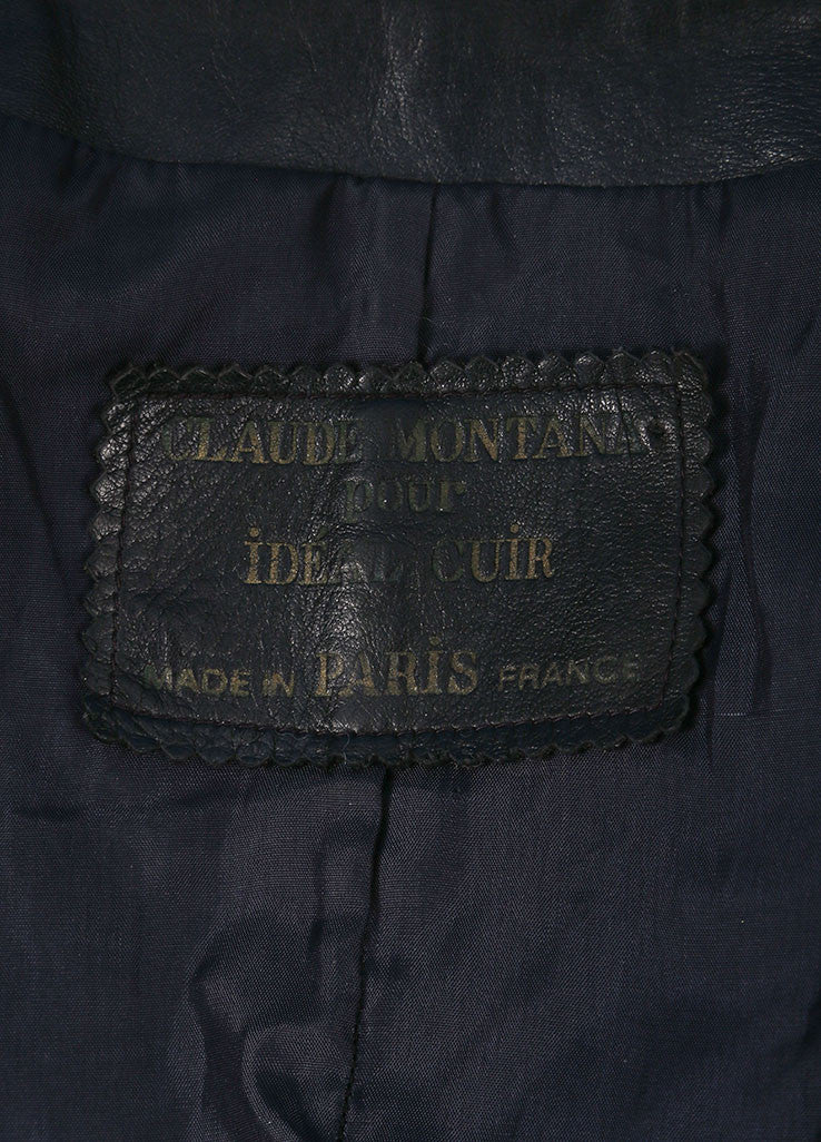 Claude Montana  Navy Leather Long Sleeve Coat Brand