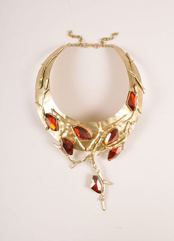 Ex NoVo Gold Toned and Red Chunky Crystal Gem Branch Detail Collar Necklace Frontview